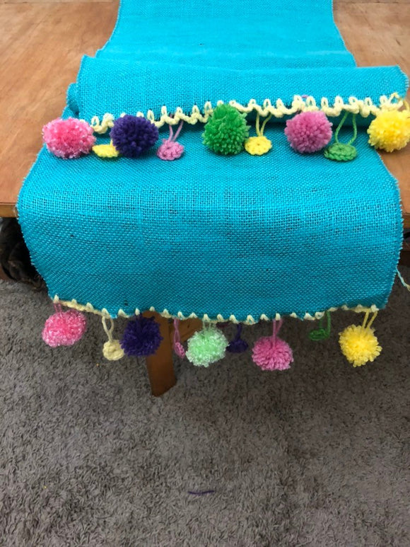 Turquoise Burlap and hand crochet Table Runner Easter