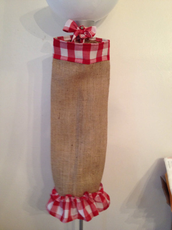 Burlap and Gingham Grocery Bag Holder Plastic Bag Holder Checkered Gingham vintage look farmhouse