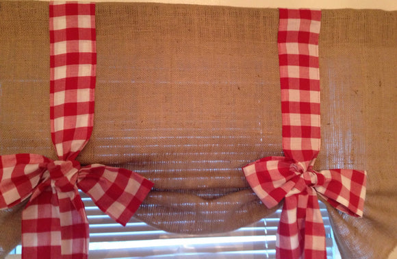 Burlap Tie Up Valance with Red Gingham