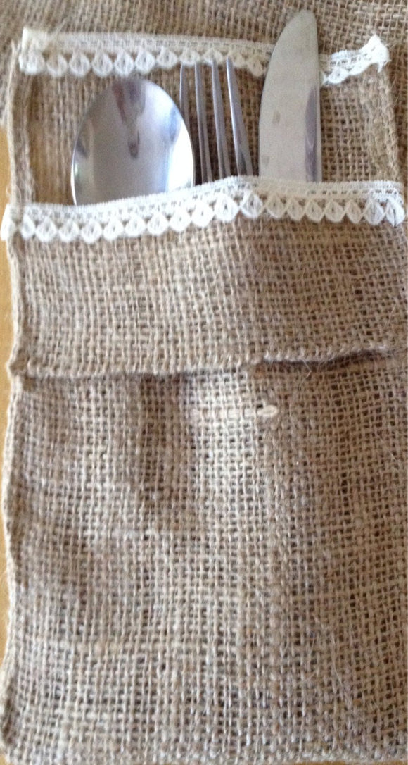 Burlap and lace  Utensils holder set of 6