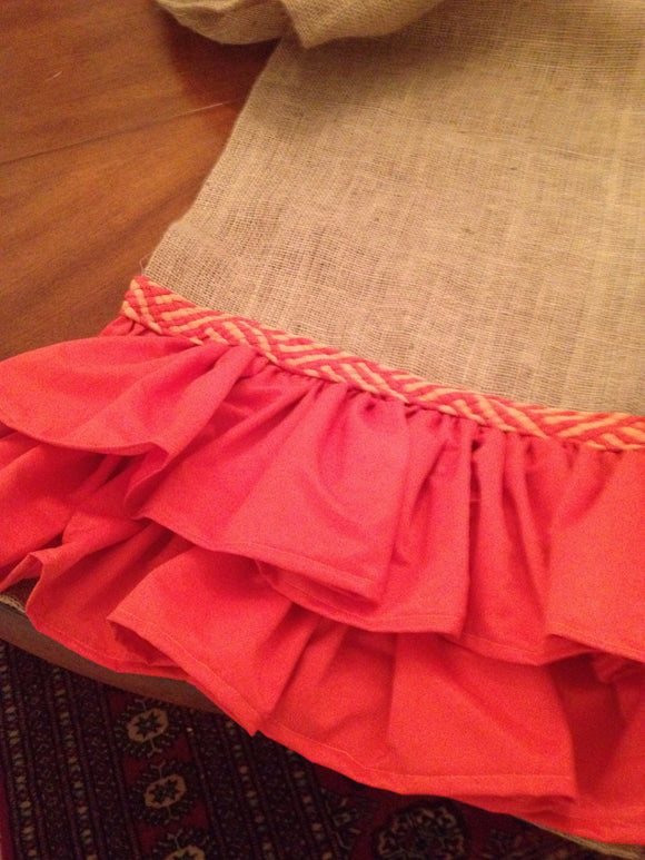 Burlap and orange Ruffle Great for Fall's Table Table Runner Cottage Decor Short Table Runner Long Table Runner