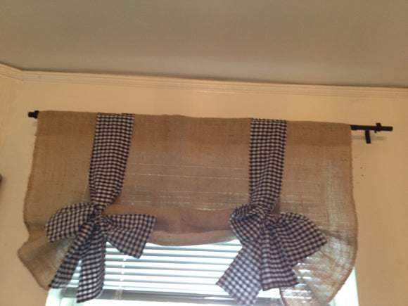 Burlap and black Gingham Tie Up Valance Vintage Look Window Treatments