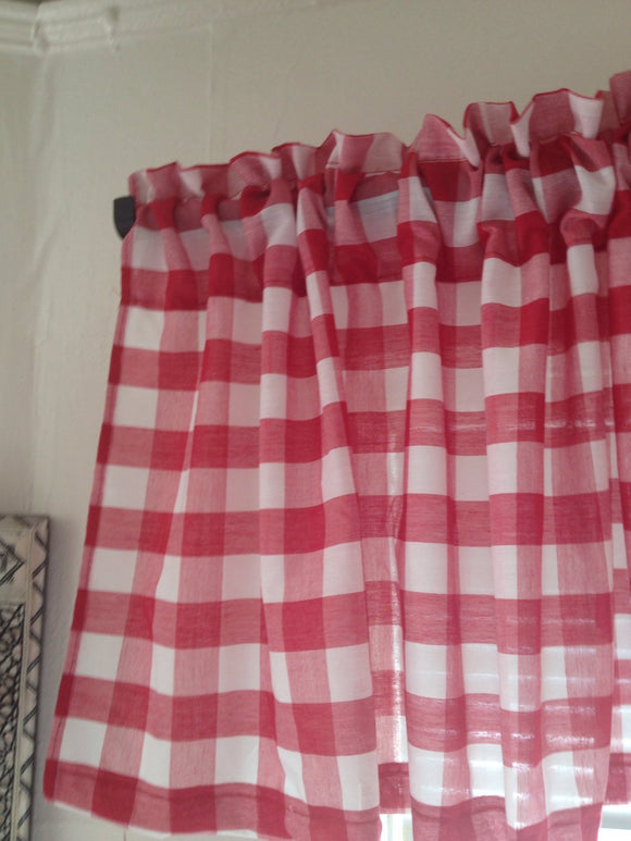 Red Gingham Valance Gingham Drapes Window Treatments  Valance Curtains