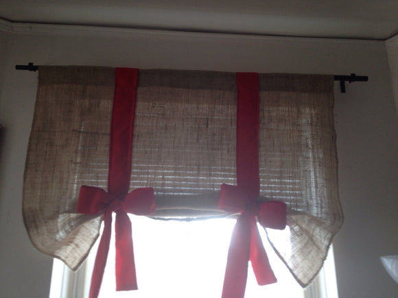 Burlap tie up valance with Red bow
