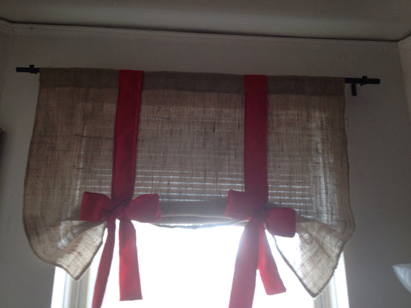 Burlap tie up valance with Red Bow Roll up Valance Kitchen valance Tie up curtains