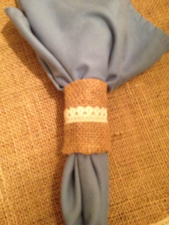 Natural Burlap Napkin Rings Napkin Holders Custom Napkin Ring vintage look farmhouse
