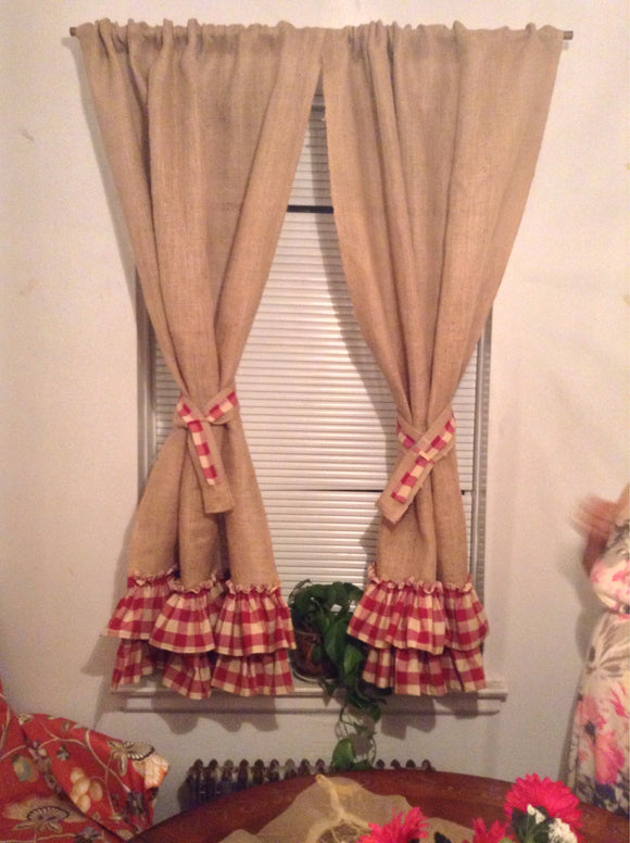 Burlap Curtain Panels with Red Ruffles Window Curtain Panels Home Decor