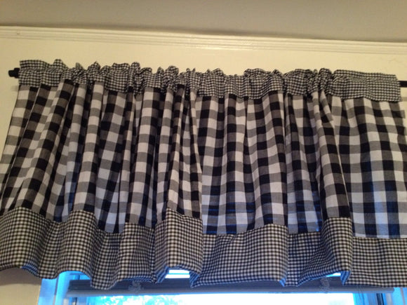 Black and White Gingham Valance
