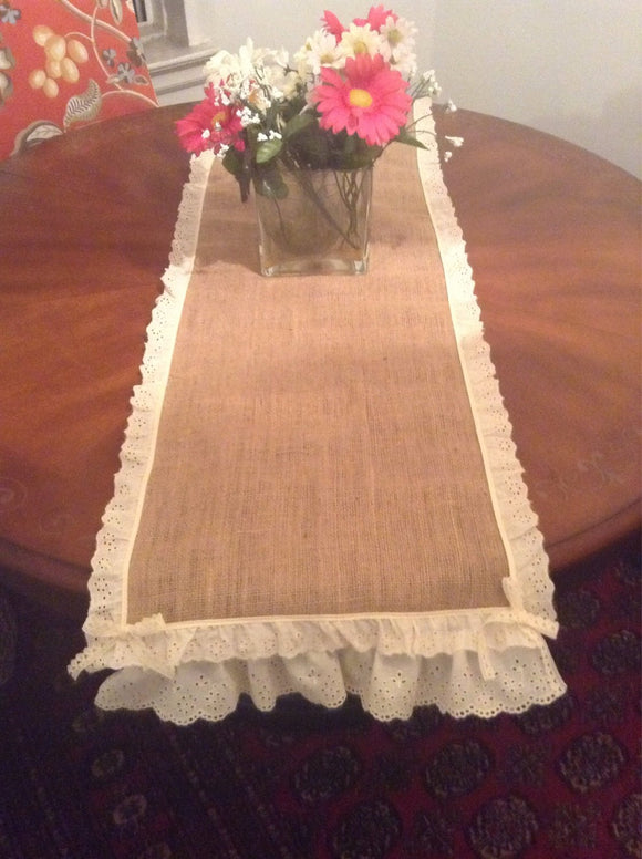 Burlap table top/ runner vintage look