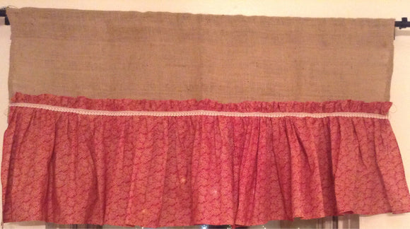 Burlap valance with a dark red Ruffel