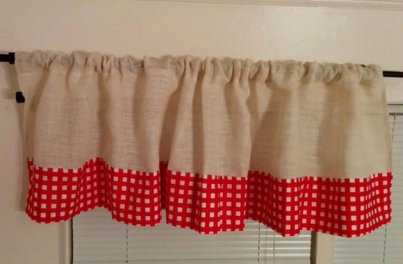 White Burlap and Red Gingham Valance