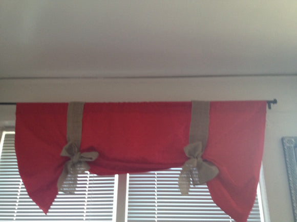 Red Tie Up Valance with Natural burlap Bow Tie-up Curtains Christmas Decor Valance