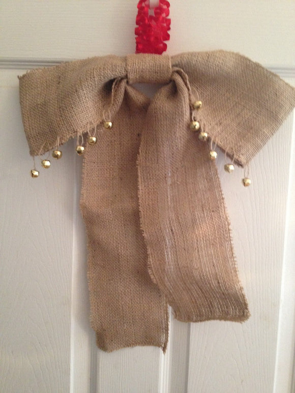 Burlap Bow Burlap Wedding, Burlap Decoration, Large Gift Bow Rustic Decoration,