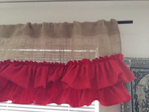 Red and burlap ruffled Valance Burlap Valances Burlap Curtain Window Treatments Home Decor
