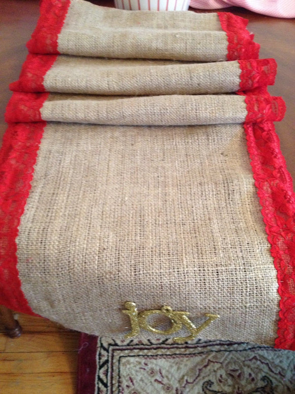 Christmas Red Lace and burlap table runner