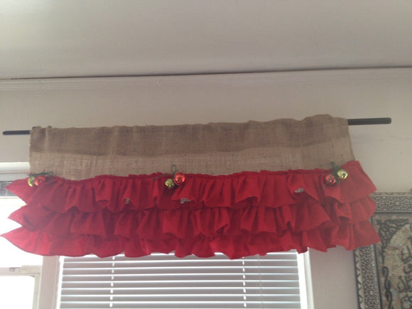 Christmas red ruffels and burlab valance with 6 large bells