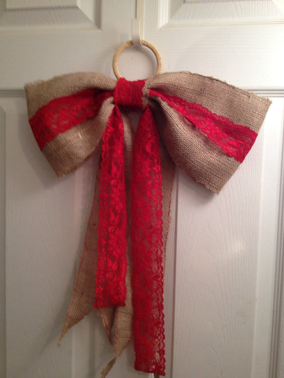 Burlap and Red Lace Bow Vintage Lace Bow Wreath Bow Rustic Wedding