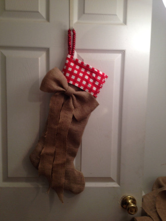Holidays Burlap stocking with big burlap bow
