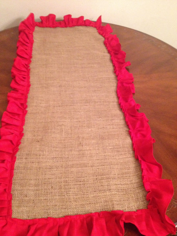 Burlap and Red Ruffles Table Top Tablecloths with Ruffles Wedding Runner