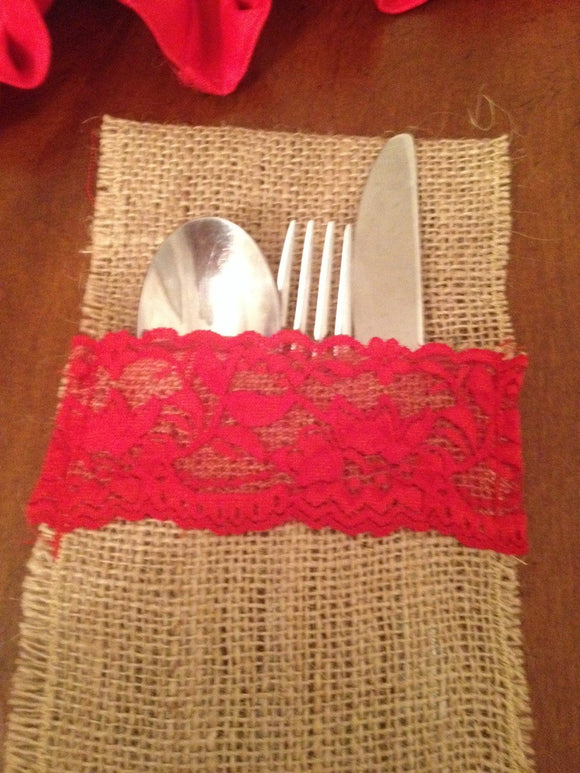 4 Holidays Burlap and  Red Lace Utensil Holder Kitchen Decor, Kitchen storage