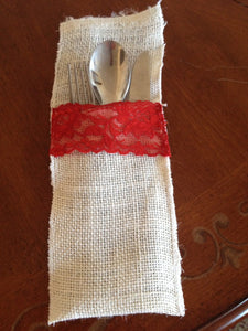 White Burlap and red lace Utensil holder set of 4 Rustic Utensil Holder Christmas Table Decoration