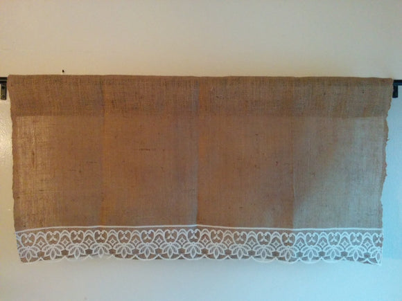 Burlap and Lace Valance Natural Burlap and off White Lace, vintage look farmhouse