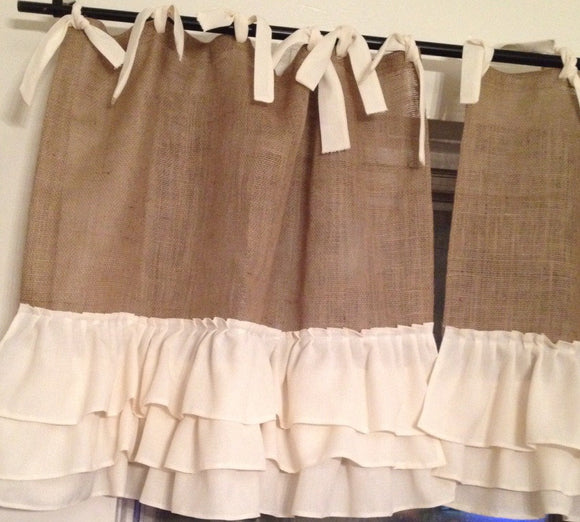 Cafe Style Burlap Curtains with 3 Tires Ruffles Jute Curtains Burlap curtains Vintage look