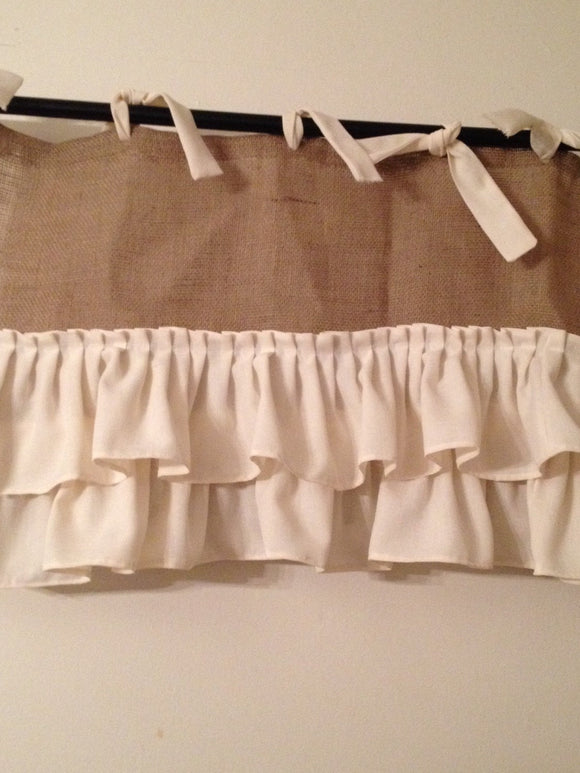 Burlap Valance with Ruffles and Ties Window Custom Curtains Valances and Window Treatments