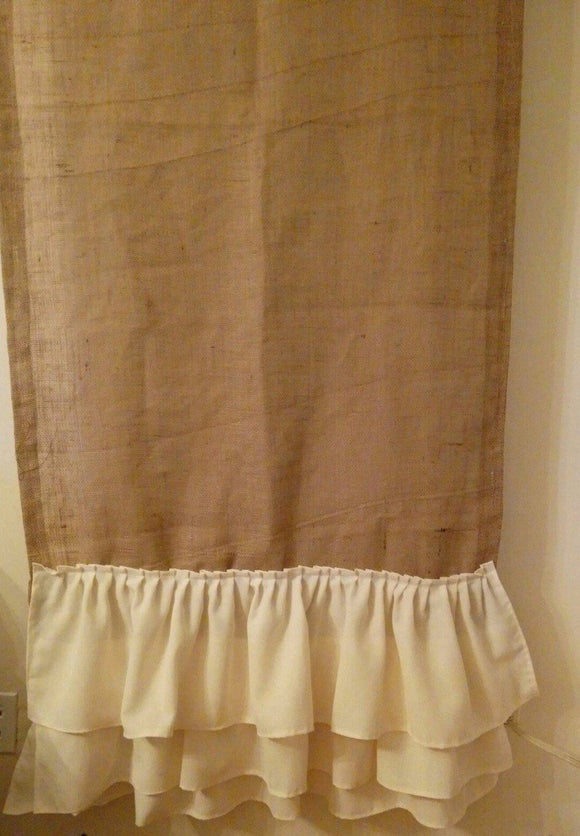 Natural burlap curtain with ruffles and cute ties on Rod