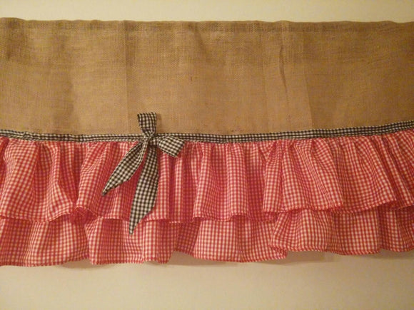 Burlap Valance with 2 Tires of Red RufflesGinghamCurtains vintage look farmhouse