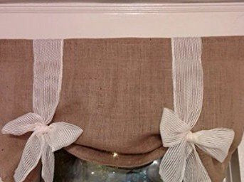 Natural Burlap Tie Up Valance Curtain Shade Target Kitchen Rustic Natural Flax