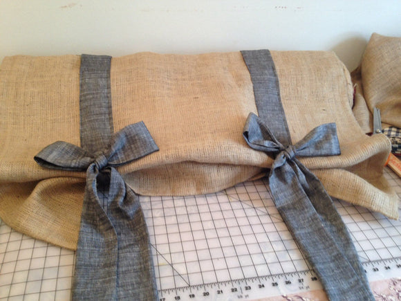 Black chambray and burlap valance