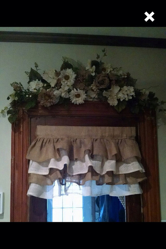 Natural Burlap And White Ruffled Valance Burlap Curtains Burlap Window Valance vintage look farmhouse