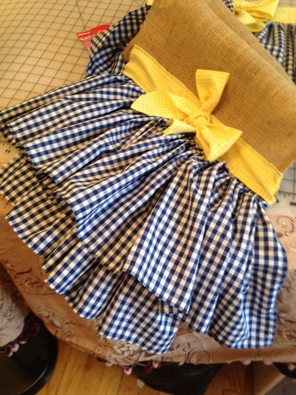 72X14 Burlap runner with navy blue gingham