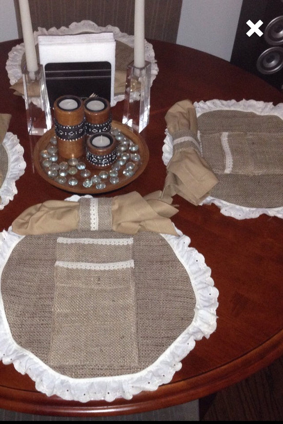 Set of 4 placemats, Napkin Ring, and Utensil Holder vintage look farmhouse