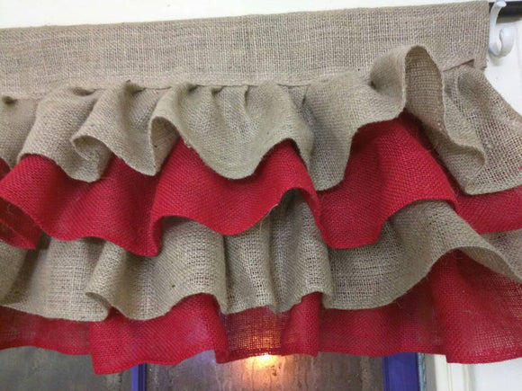 Red and Tan Ruffled Burlap Valance  Window Treatment Home Burlap Window Valance