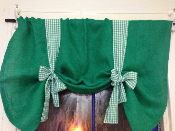 Green Burlap Tie Up Valance  40 x 30