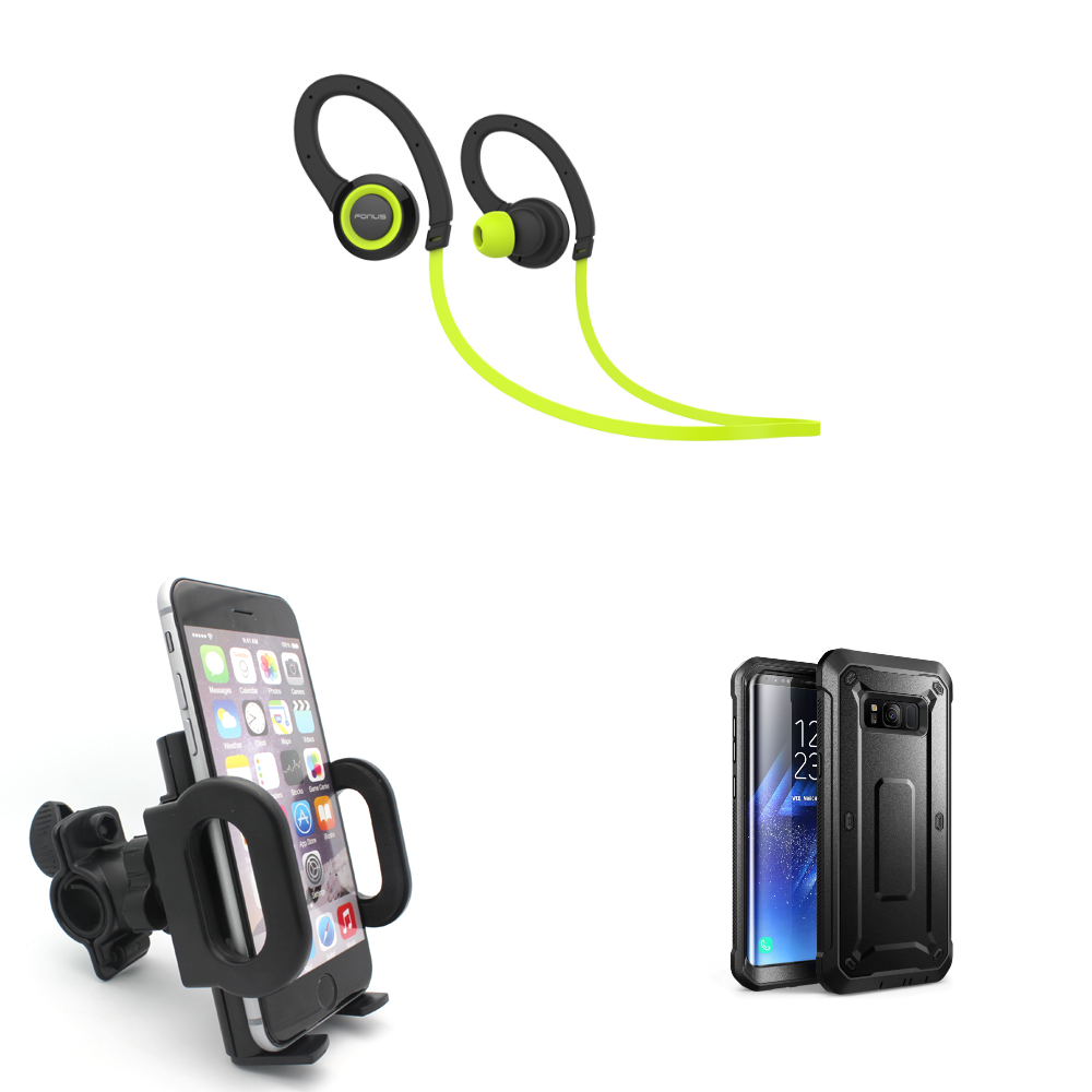 Xenda Bicycle Holder + Sweatproof Sports Wireless Headset + Shock Resistant Rugged Holster Cover