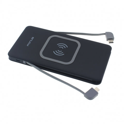 Image of 10000mAh Power Bank Wireless Charger Backup Battery Portable Built-in Adapters Slim