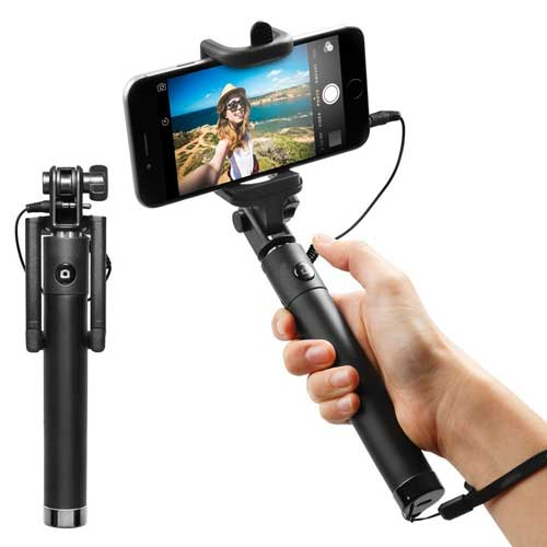 Wired Selfie Stick Monopod Remote Shutter Built-in Self-Portrait Extendable