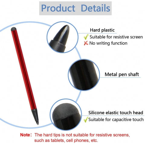 Image of Red Stylus Capacitive and Resistive Pen Touch Compact Lightweight