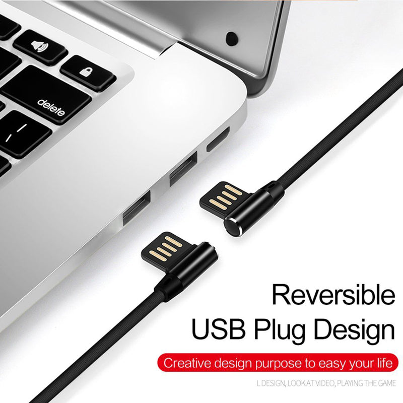 Angle USB Cable 6ft Type-C Charger Cord USB-C Power Wire