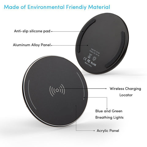Wireless Charger Fast 7.5W and 10W Charging Pad Slim Quick Charge