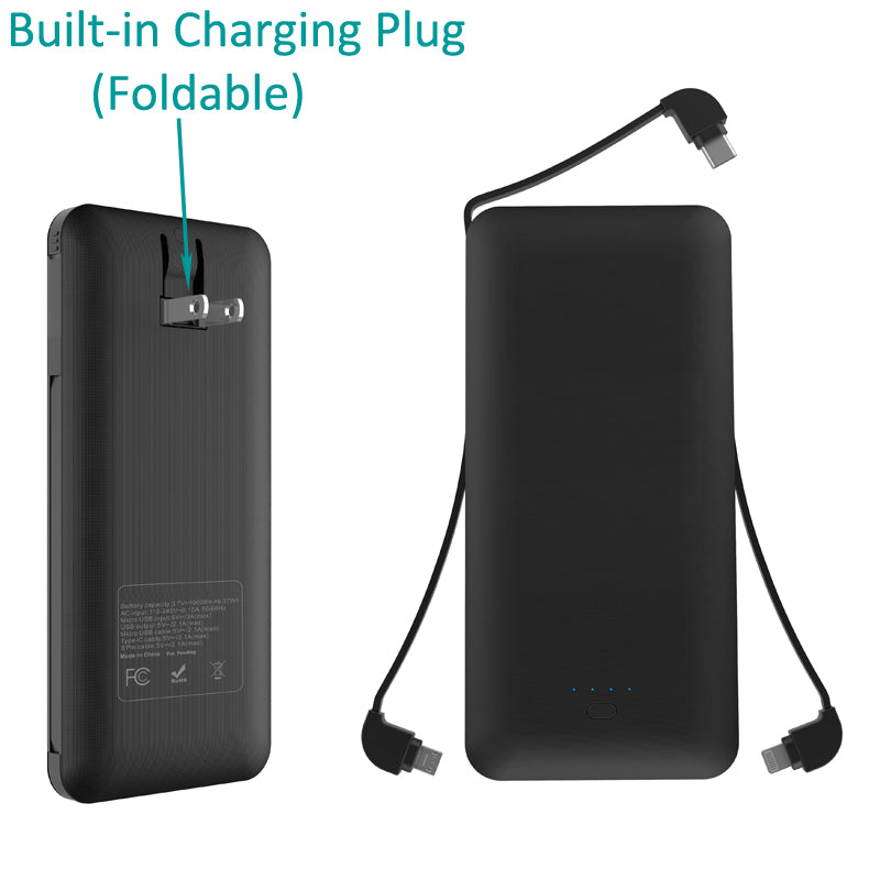 10000mAh Power Bank Charger Backup Battery Portable USB Port Built-in Adapters