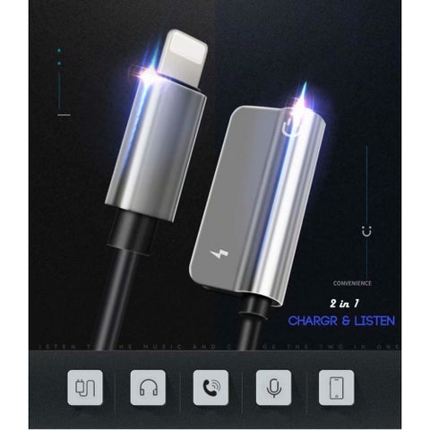 Image of 3.5mm Earphone Adapter Headphone Jack Charger Port Splitter Mic Support Headset Adaptor - ONF27