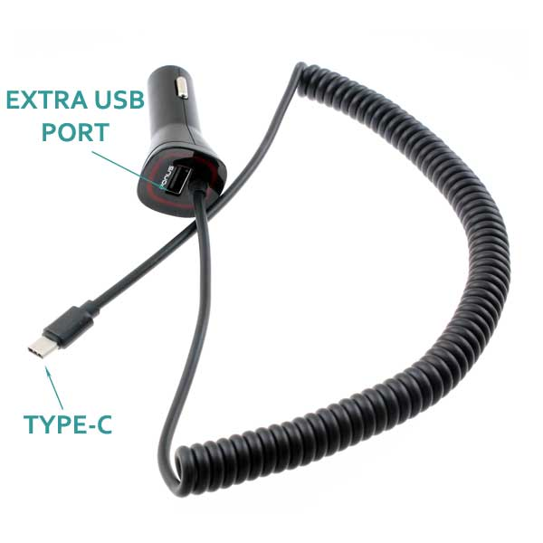Car Charger 3.4A Type-C Power Adapter DC Socket
