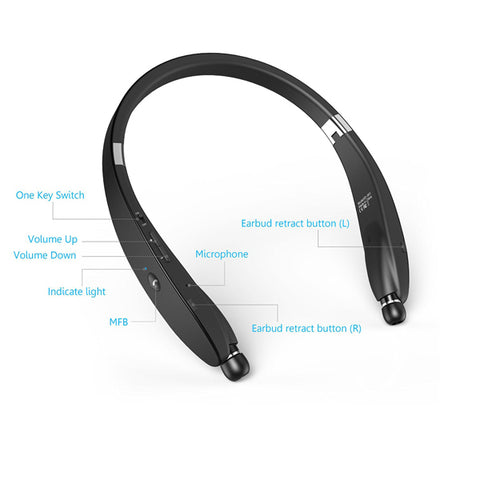 Wireless Headphones Sports Earphones With Microphone Folding Retractable Neckband Headset
