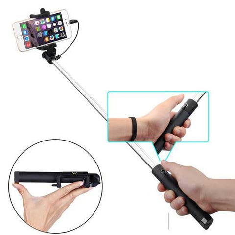 Image of Wired Selfie Stick Monopod Remote Shutter Built-in Self-Portrait Extendable