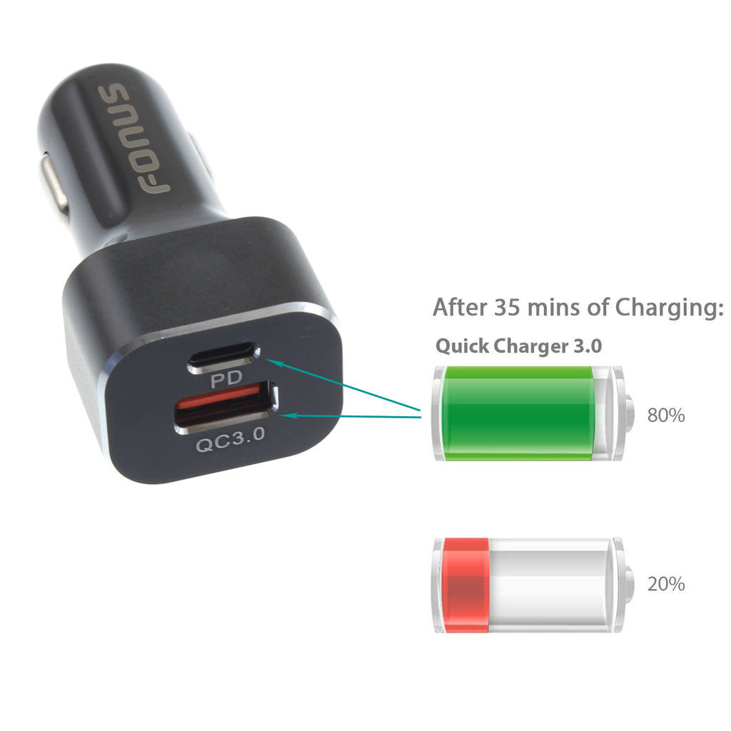 Quick Car Charger 36W 2-Port USB Type-C PD Power Adapter