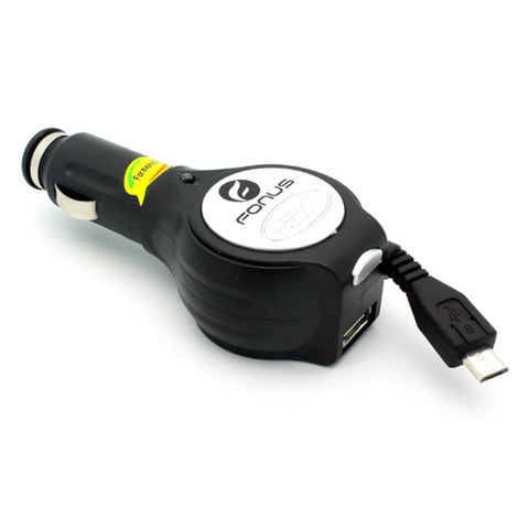 Image of Car Charger Retractable USB Port Micro-USB DC Socket Power